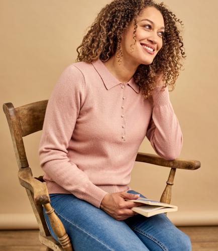 Женский пуловер с воротником из кашемира и шерсти мериноса