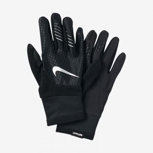 NIKE MEN'S THERMA-FIT ELITE RUN GLOVES M BLACK/BLACK/SILVER, перчатки, (003) черн/черн/серебр