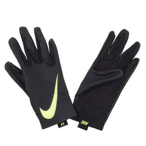 1036р. 2690р. NIKE PRO WARM WOMEN'S LINER GLOVES S BLACK/BLACK/VOLT, перчатки флис, (007) черн/черн/желт