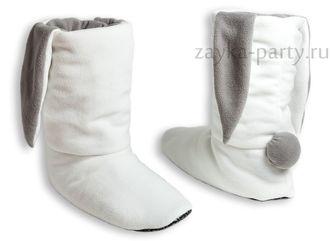 Тапочки-зайчики белые с серым
