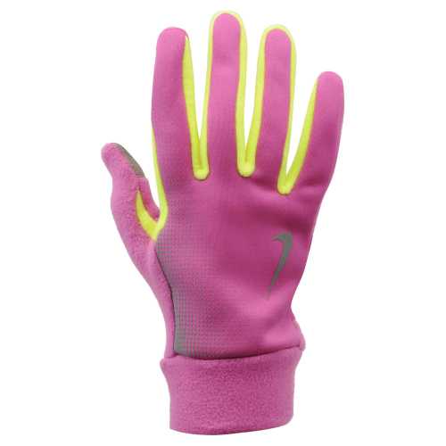 NIKE WOMEN'S TECH THERMAL RUNNING GLOVES S CLUB PINK/VOLT, перчатки для бега, (670) роз/салат