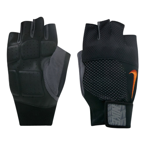 NIKE MEN'S LOCK DOWN TRAINING GLOVES S BLACK/TOTAL ORANGE, мужские перчатки для зала, (005) чер/оранж