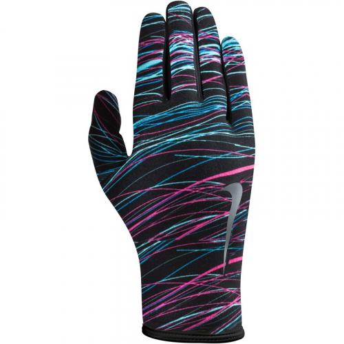 NIKE WOMEN'S LIGHTWEIGHT RIVAL RUN GLOVES 2.0 M BLACK/HYPER PINK/SILVER, перчатки для бега, (049) черн/роз/серебр
