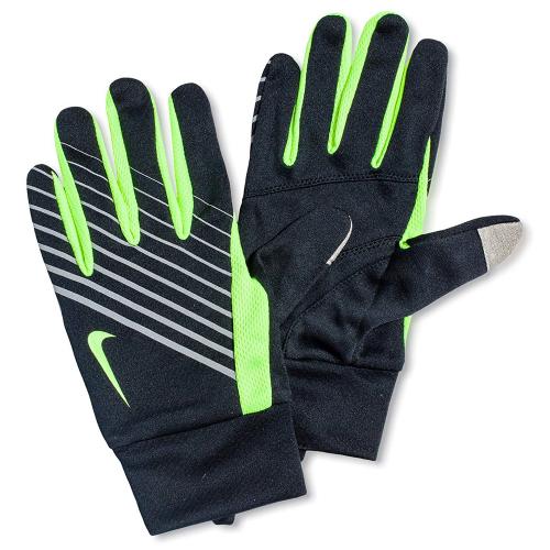 NIKE MEN'S LIGHTWEIGHT RUN GLOVES S BLACK/VOLT, мужские перчатки для бега, (051) чер/зел