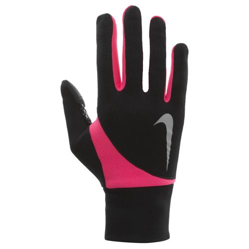 NIKE WOMEN'S DRI-FIT TAILWIND RUN GLOVES S BLACK/HYPER PINK, женские перчатки для бега, (091) черн/роз
