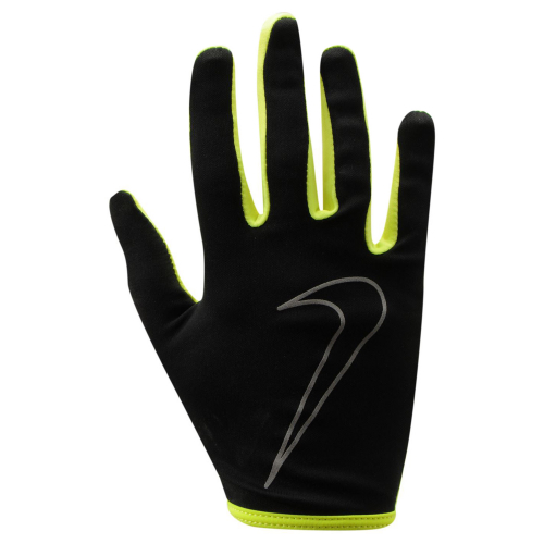 NIKE WOMEN'S RALLY RUN GLOVES L BLACK/VOLT, женские перчатки для бега, (023) чер/жел