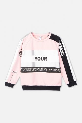 Костюм (Брюки+Толстовка) #143643Черный/Белый/Светло-розовый