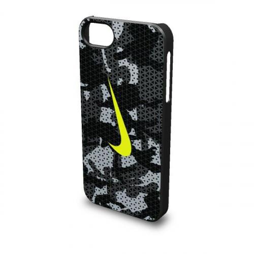 175р. 1590р. NIKE CAMO HARD PHONE CASE 5 BLACK/ANTHRACITE/WOLF GREY/VOLT, чехол для iPhone, (037) чер/чер/сер/салат
