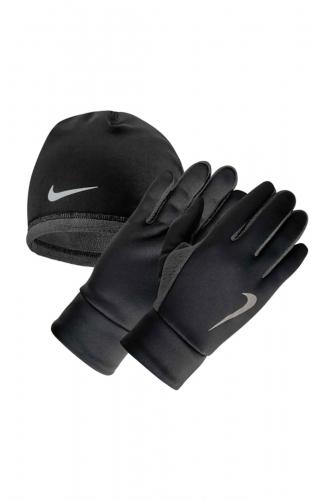 MEN'S NIKE RUN THERMAL HAT AND GLOVE SET L/XL BLACK/ANTHRACITE/SILVER, (045) черн/т.сер/серебр