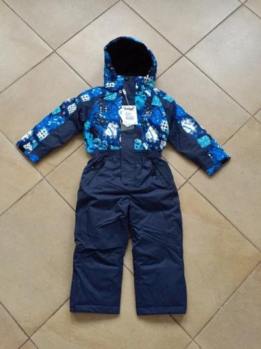 Теплый зимний слитный мембранный комбинезон Snowest цвет Blue Cars р. 104