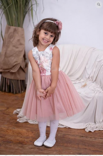 Платье для девочки Неженка молочный атлас пудра фатин