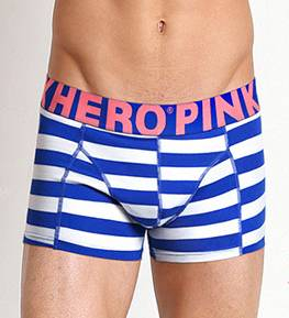 Мужские трусы Pink Hero белые/синие полоски удлиненные PH514-6