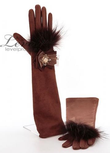 Перчатки длинные - Галатея + мех енот натуральный