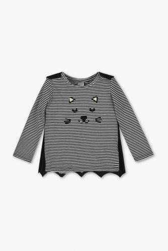 Langarmshirt - gestreift - Glanz Effekt