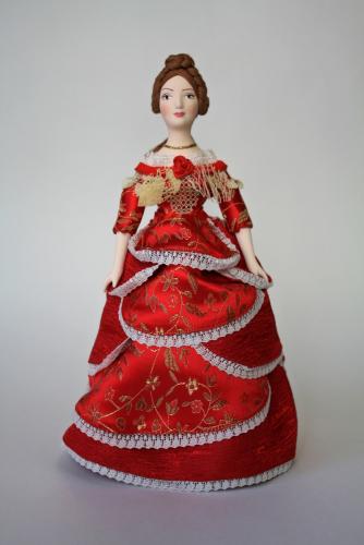 Кукла сувенирная фарфоровая.  Дама в бальном платье. Сер.19 в. Петербург.