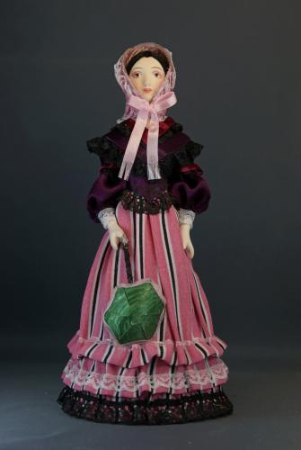 Кукла сувенирная фарфоровая. Мадмуазель в летнем платье. 2-я пол.19в. Франция