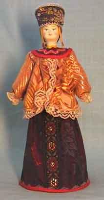 Кукла сувенирная фарфоровая. Девичий праздничный костюм.