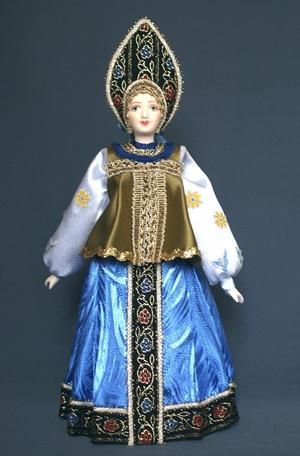 Кукла сувенирная фарфоровая. Акулина. Народный летний костюм. К.18 - н.19 в.