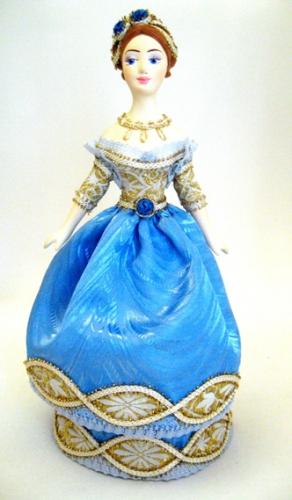 Кукла сувенирная фарфоровая. Дама в бальном платье. 2-я чет.19 в.