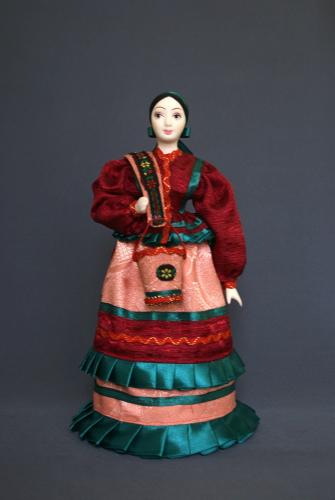 Кукла сувенирная фарфоровая. Водоноска-казачка