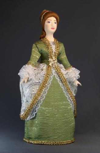 Кукла сувенирная фарфоровая. Дама в придворном платье. Нач.18 в. Петербург