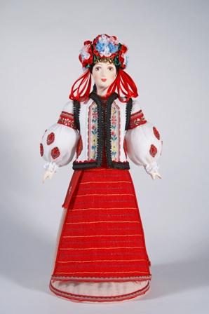 Кукла сувенирная фарфоровая. Западная Украина. Женский свадебный костюм.