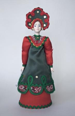 Кукла сувенирная фарфоровая. Русский костюм (стилизация).