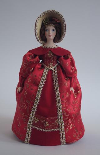 Кукла сувенирная фарфоровая. Барышня в светском  костюме. Первая пол. 19 в. Европа.