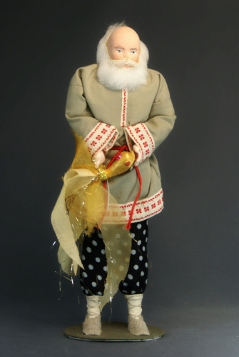 Кукла сувенирная фарфоровая. Старик с золотой рыбкой. Сказочный персонаж.