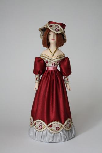 Кукла сувенирная фарфоровая. Дама в европейском костюме (стилизация). 19 в.