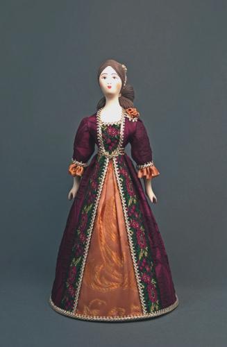 Кукла сувенирная фарфоровая. Дама в светском платье. Кон.18 в. Европа