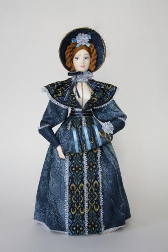 Кукла сувенирная фарфоровая. Дама с муфтой. 1830-е гг. 19 в.