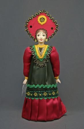 Кукла сувенирная фарфоровая. Россия. Девичий праздничный костюм (стилизация).