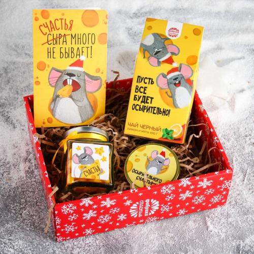 Набор «Сырный»: чай с лимоном и мятой 100 г, шоколадная медаль, леденцы, открытка