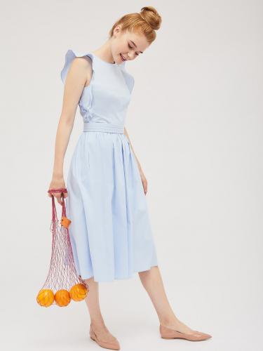 Хлопковое платье с воланами