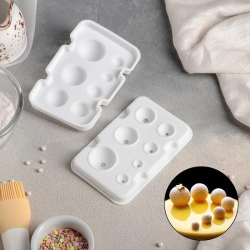 Форма для муссовых десертов и выпечки из 2 частей «Шарики», 13×8,5 см, 7 ячеек, цвет белый