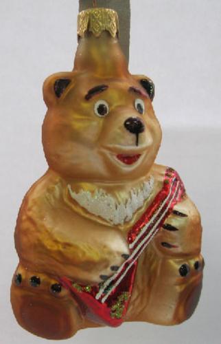 Елочное украшение Медведь с балалайкой в упаковке 11см