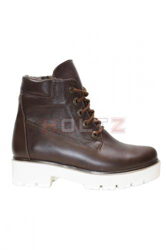 Коричневые зимние кожаные ботинки 128 кор на белой толстой подошве