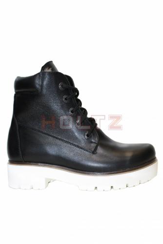 Черные зимние кожаные ботинки 128 на белой толстой подошве