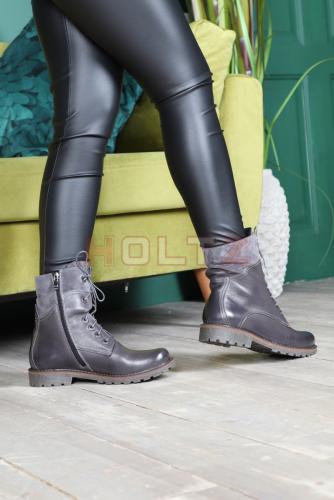 Женские демисезонные ботинки 128A серая кожа/замша