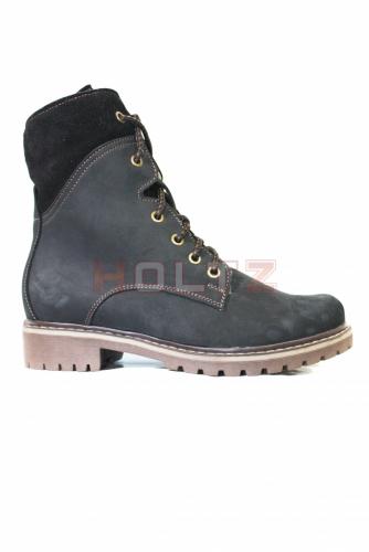 Зимние ботинки из черного нубука 8674 2-0-1