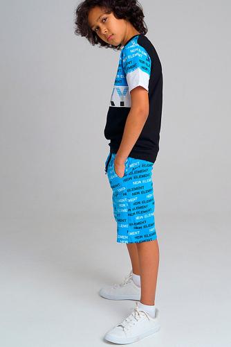 Комплект (Шорты+Футболка) #305969Черный, белый, синий