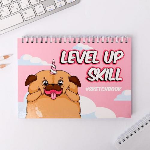 Скетчбук горизонтальный на гребне Level up skill, А5,80 листов