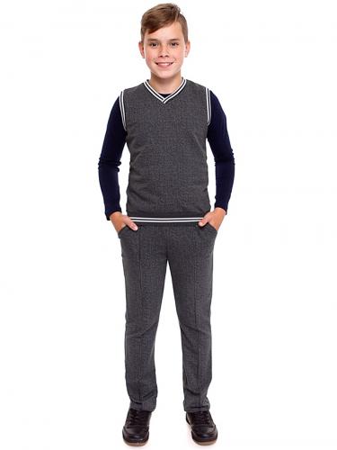 Костюм (жилет+брюки) #225182Гусиная лапка мелкая серый+полоска белая на антраците