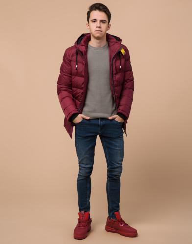 Качественная бордовая подростковая куртка модель 75263