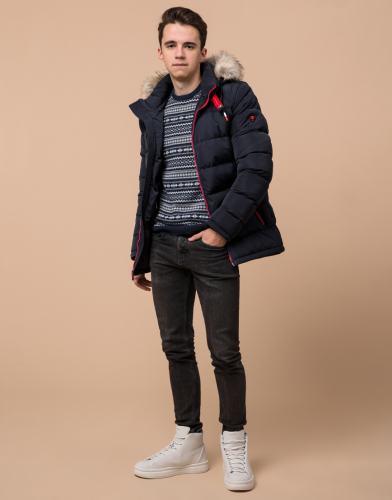 Темно-синяя стильная куртка подростковая модель 73563