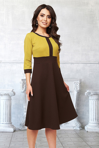 Платье #211613Коричневый, Оливковый