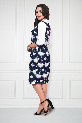 Платье #211244Белый, Синий