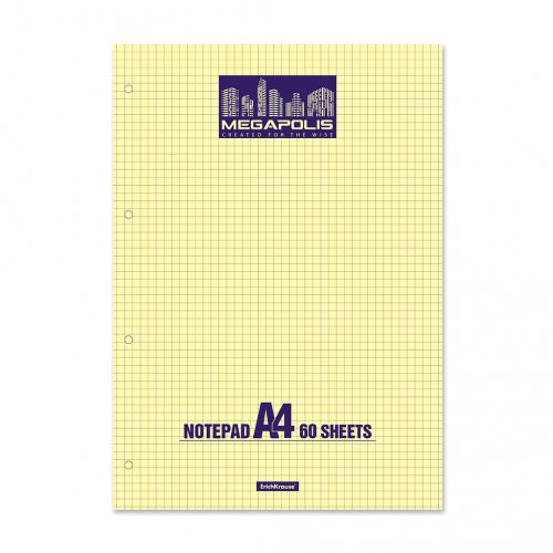 Блокнот на клею ErichKrause® MEGAPOLIS® Yellow Concept, А4, 60 листов, клетка, желтый внутренний блок, перфорация