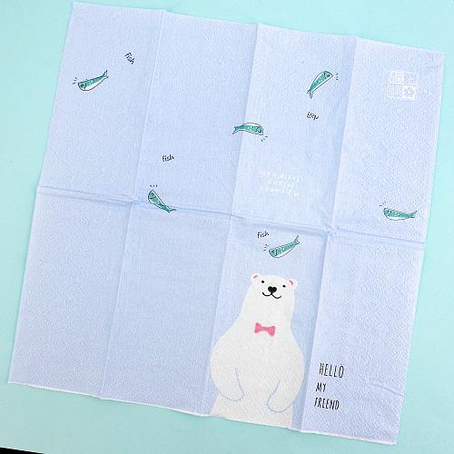 Платочки бумажные с принтом Белый мишка (в ассортименте)